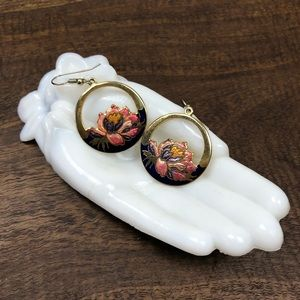 Vintage Lotus Floral Circle Pink Enamel Earrings